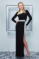 Нарядное женское платье в пол, чёрное, креп-дайвинг, размер 44-48