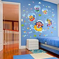 Прекрасный серфинг стикер стены стикер обезьяны дети мультфильм комнаты декор anmials стены