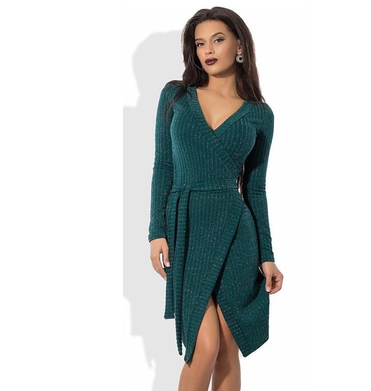 Зеленое платье на запах из трикотажа с люрексом - Lace Secret - Магазин  женского белья и 9656d482a3b