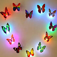 Хонана DX-128 цветов Изменение светодиодной мигающий бабочка Ночной свет Декоративные светильники 3D наклейки Home Decor