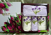 Упаковка подарочных полотенец 4шт Merpatti Tulip 100% хлопок махра - 2 банных + 2 для лица-Разные модели
