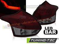 Задние фонари на Ford Focus 2011-2014 красные тонированные HATCHBACK