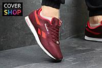 Мужские кроссовки Reebok Classic, цвет - бордовый, материал - плотный текстиль, подошва - пенка