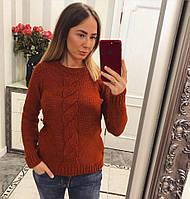Яркий женский свитер с оригинальной вязкой