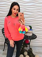 Теплый свитер из ангоры корраловый цвет