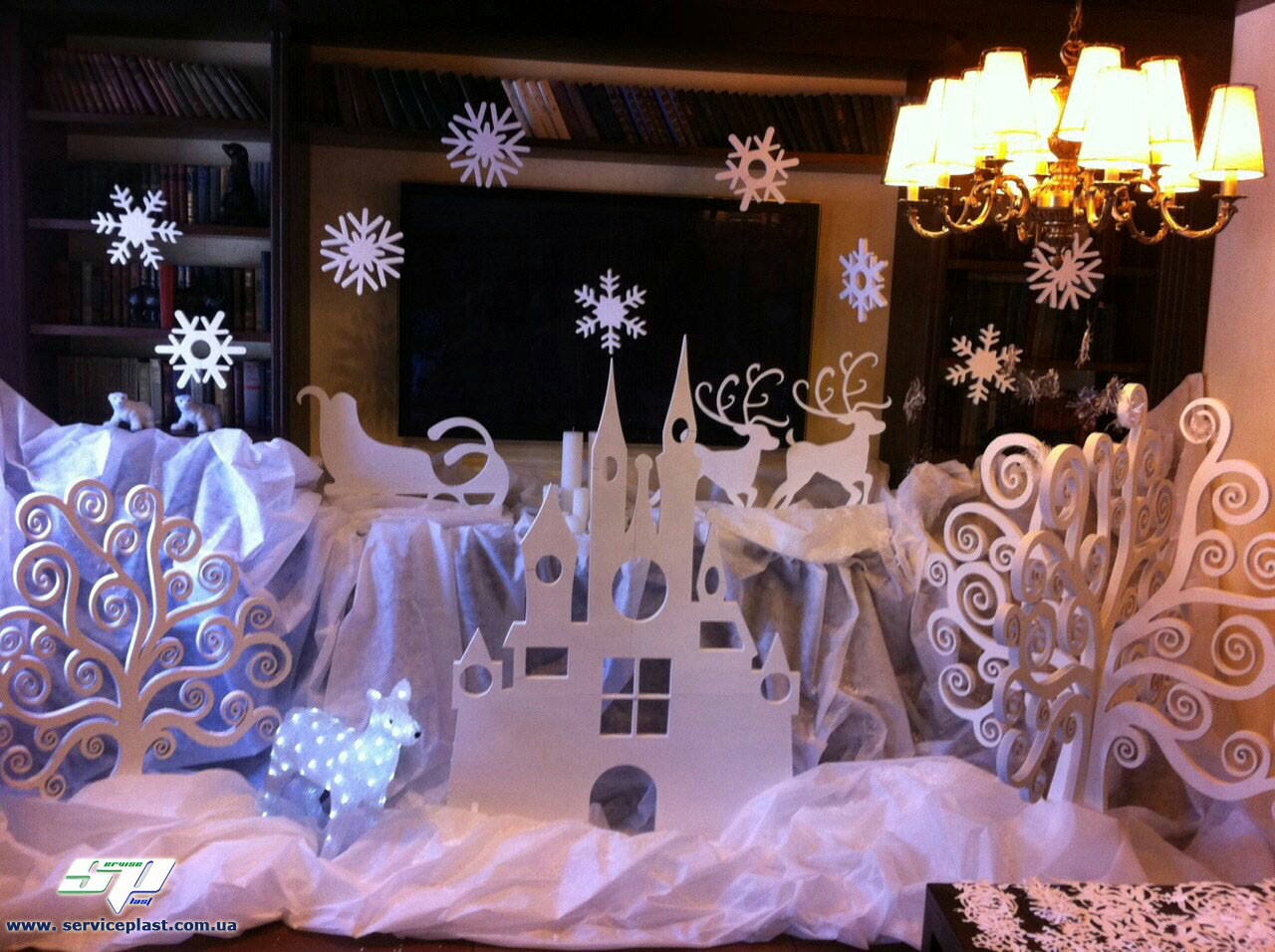 Новогодний декор: снежинки из пенопласта, елочки, звезды из пенопласта, мдф и фанеры