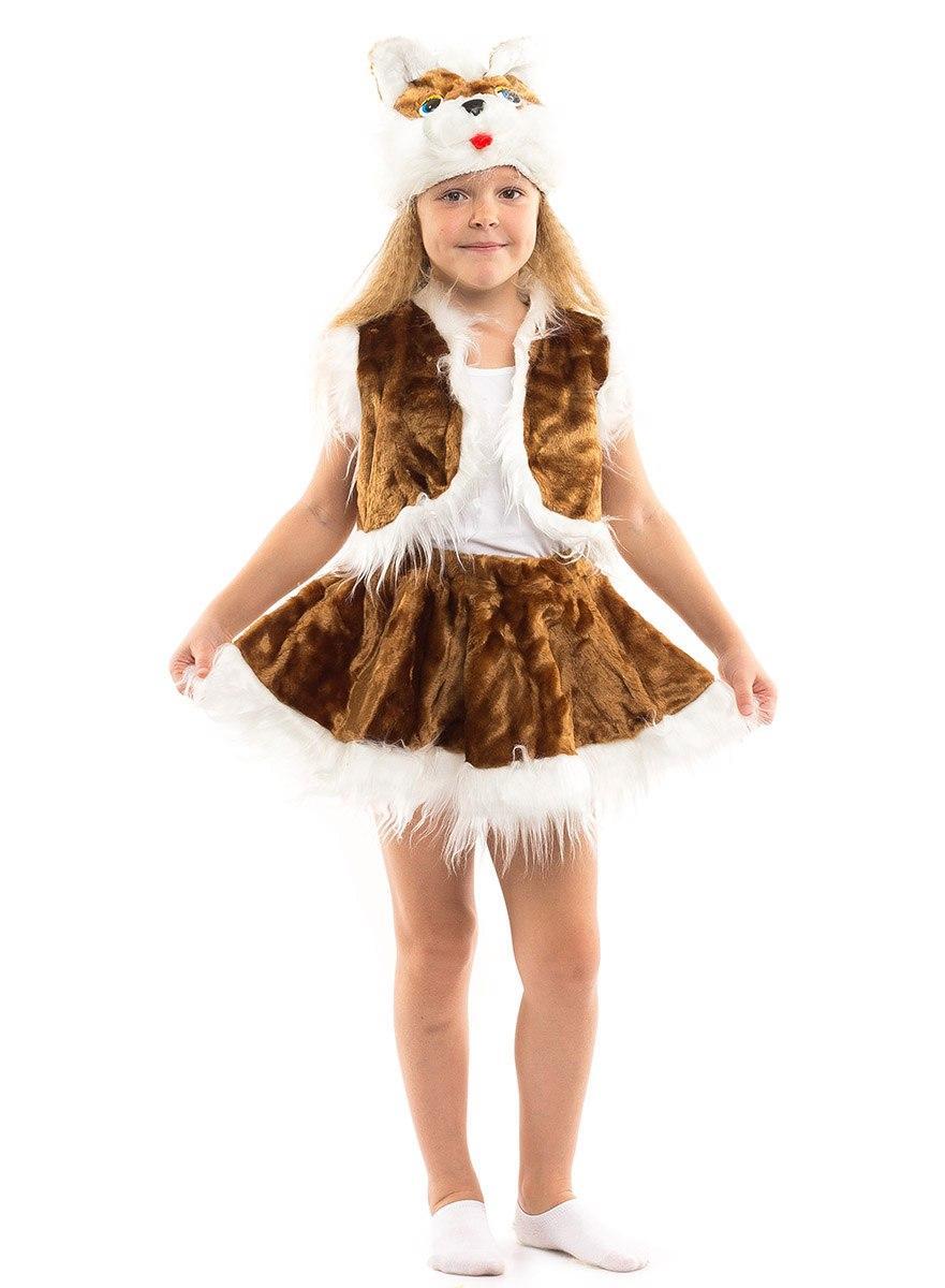 """Детский карнавальный меховой костюм """"Кошечка"""" для девочки (4 цвета)"""
