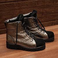 Женские ботинки (7223.1) 37, 38, 40 - зимние кожаные серебристо-черные на тракторной подошве