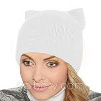 """Женская шапка """"Кошка"""" двойная вязка белый"""