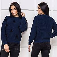 Женский свитер синий декорированный мехом