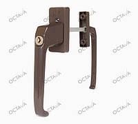 Балконный ассиметрический гарнитур с ключиком, для дверей ПВХ, коричневый