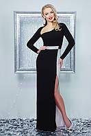 Нарядное женское платье в пол, чёрное, креп-дайвинг, размер 48