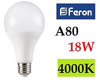 Светодиодная лампа Feron LB-718 18W А80 Е27 4000К (нейтральный белый)