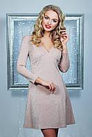Нарядное женское приталенное платье, персиковое, трикотаж, размер 44-48