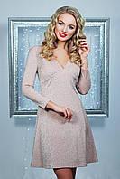 Нарядное женское приталенное платье, персиковое, трикотаж, размер 48