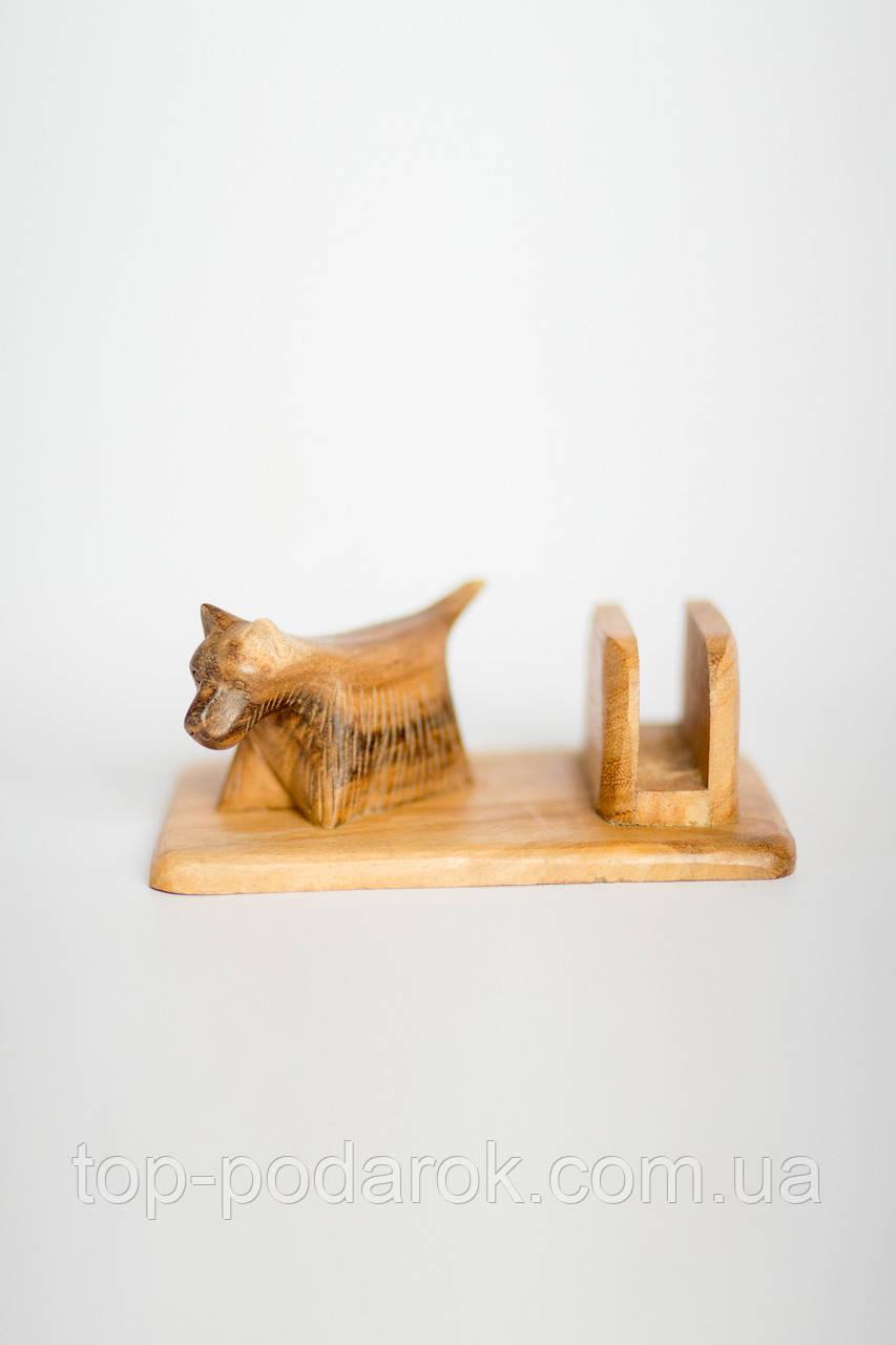 Визитница деревянная Собака