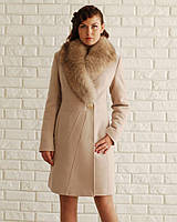 Классическое пальто зимнее шаль. код5057 бежевый