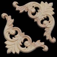 8x8cm неокрашенные деревянные резные углу аппликация для украшения дома мебели