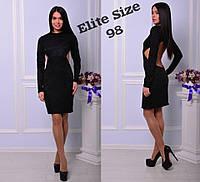 Черное гипюровое платье по колено с длинным рукавом и открытой спиной