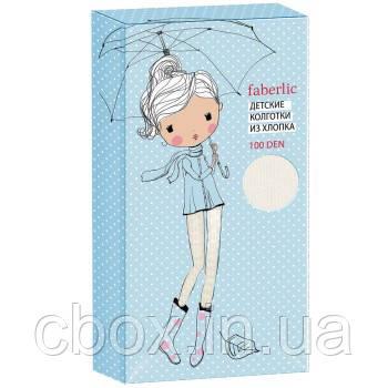 Колготки детские из хлопка 100 DEN, Фаберлик, размер 140-146, цвет белый, Faberlic, 81571