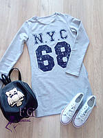"Платье ""N.Y.C - 68"". Распродажа 42, серый+синяя накатка"