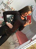 """Женская кофта с чокером """"Вероника"""". Распродажа модели черный, 44"""