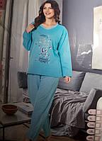 Женская пижама большого размера с начесом