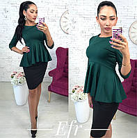 """Женская блуза-кофта """"Баска"""" темно-зеленый, 46"""
