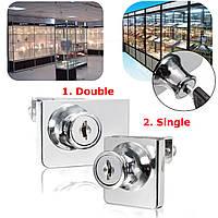Одиночный/двойной стеклянный шкаф замок двери кулачок ключ витрина дисплей замок с 2 ключами