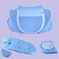 4шт складная детская кроватка для ребенка навес москитная сетка палатка комплект постельных принадлежностей хлопка мягкий матрас подушка