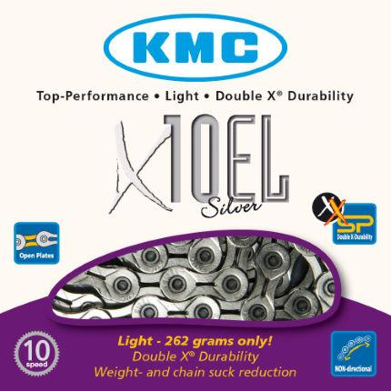 Цепь KMC x10-EL Silver 114 link, 10 скоростей