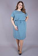 Платье большого размера Виолетта узор бирюза