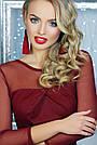 Нарядное облегающее женское платье, бордовое, креп-дайвинг, размер 44-48, фото 2