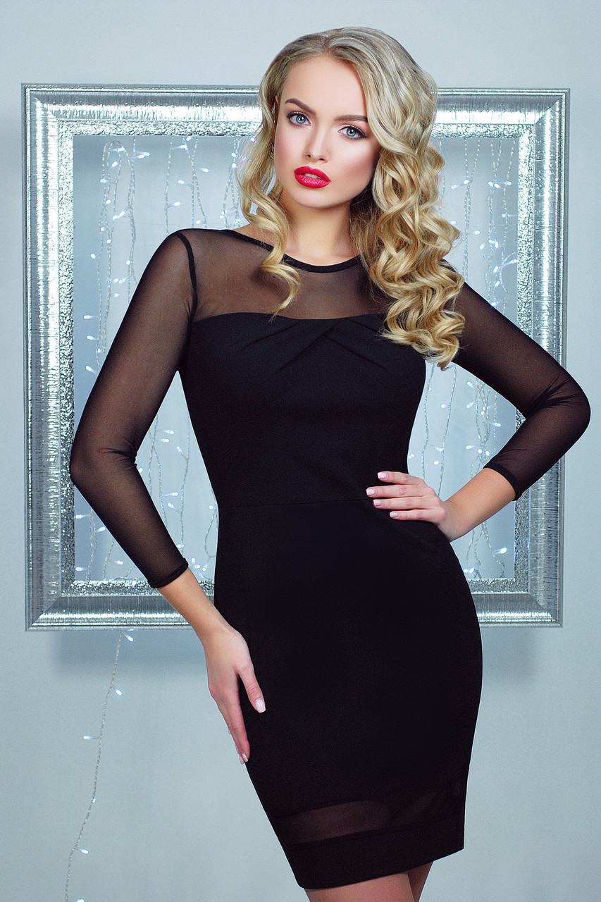 Нарядное облегающее женское платье, чёрное, креп-дайвинг, размер 44-48