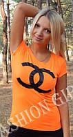 """Футболка """"Бренд Chanel"""" - распродажа модели оранжевый, Chanel"""