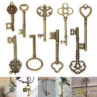 9pcs антикварные старинные очарование подвески отмычек бронзовые для поделок изготовления ювелирных изделий