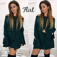 Зеленое платье с поясом из мягкой ангоры