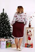 Женское платье с цветами и капюшоном 0688 / размер 42-74 цвет бордо, фото 4