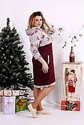 Женское платье с цветами и капюшоном 0688 / размер 42-74 цвет бордо, фото 2
