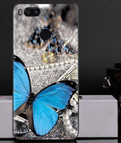 Силиконовый чехол на Xiaomi Mi A1 / Mi 5x с картинкой синяя бабочка