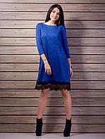 Стильное платье с гипюровой планочкой по низу электрик