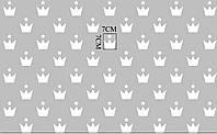 """Хлопковая ткань """"Белые короны со звездой"""" (оптом) №667"""