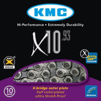 Цепь KMC x10.93 silver/black, 10 скоростей