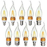E27 E14 E12 b22 b15 3.5W 4LEDs LED чистый белый теплый белый свет нить AC220V лампы в форме свечи