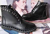 Ботинки заклепки! Женские зимние сапоги в стиле  Zanotti Kleori шнуровка кожа