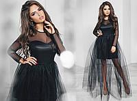 Платье вечернее, сетка, плотный атлас, фатин, длинный рукав, размер 42-46 42, черный