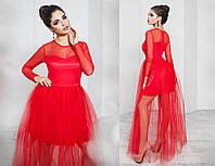 Платье вечернее, сетка, плотный атлас, фатин, длинный рукав, размер 42-46 42, красный