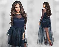 Платье вечернее, сетка, плотный атлас, фатин, длинный рукав, размер 42-46 42, темно-синий
