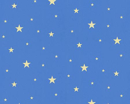 Обои метровые синие с желтыми звездами, виниловые 324414.