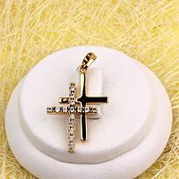 R4-0754 - Позолоченный сдвоенный кулон-крест с прозрачными фианитами